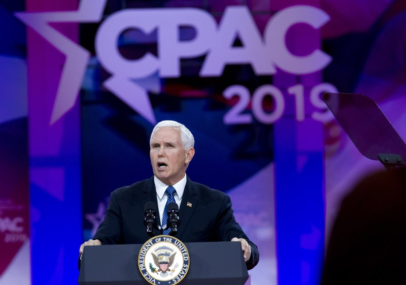 Vice President Mike Pence speaks at Conservative Political Action Conference, CPAC 2019, in Oxon Hill, Md. (AP Photo/Jose Luis Magana)