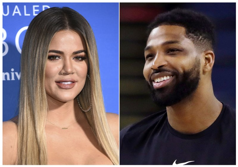 File-This combination file photo shows TV personality Khloe Kardashian at the NBCUniversal Network 2017 Upfront in New York on May 15, 2017, left, and Cleveland Cavaliers' Tristan Thompson during an NBA basketball practice in Oakland, Calif. (AP Photo/File)