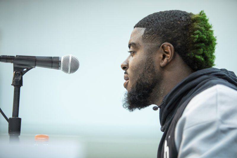 Notre Dame running back Dexter Williams talks to the media at the NFL Scouting Combine on Thursday, Feb. (Detroit Lions via AP)