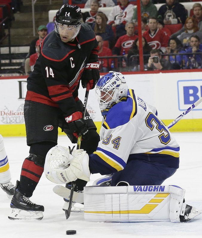 Carolina Hurricanes' Justin Williams (14) tries to score while St. Louis Blues goalie Jake Allen (34) defends during the second period of an NHL hockey game in Raleigh, N. (AP Photo/Gerry Broome)