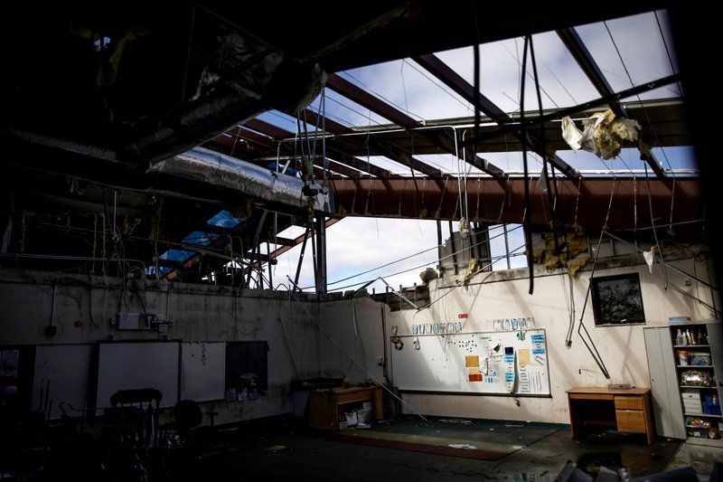 Daylight pours in through the damaged roof of a classroom at Springfield Elementary School which has remained closed since Hurricane Michael hit Panama City, Fla, Thursday, Jan. (AP Photo/David Goldman)