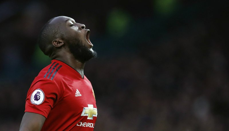 Manchester United's Romelu Lukaku celebrates scoring his side's third goal of the game during the English Premier League soccer match between Manchester United and Southampton at Old Trafford, in Manchester, England, Saturday, March 2, 2019. (Martin Rickett/PA via AP)