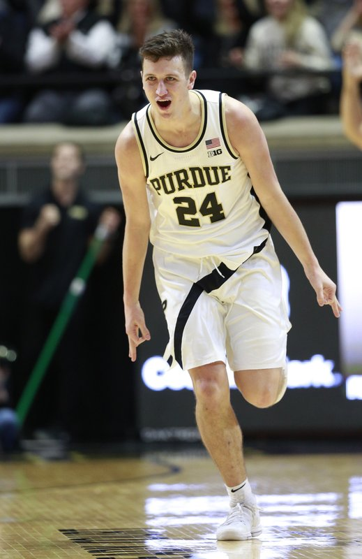 Purdue forward Grady Eifert reacts after making a basket in the first half of an NCAA college basketball game against Ohio State, Saturday, March 2, 2019, in West Lafayette, Ind. (AP Photo/R Brent Smith)