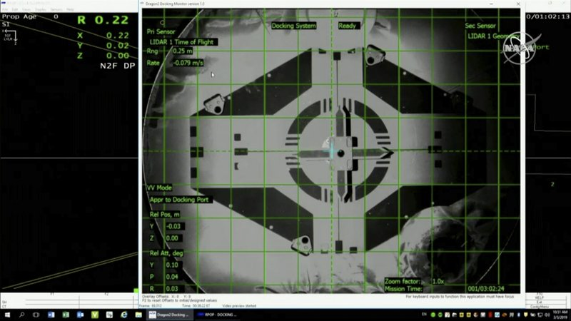 In this image taken from NASA Television, Sunday, March 3, 2019, a live screen shows docking scene of SpaceX's new crew capsule and the International Space Station Sunday, March 3, 2019. (NASA TV via AP)