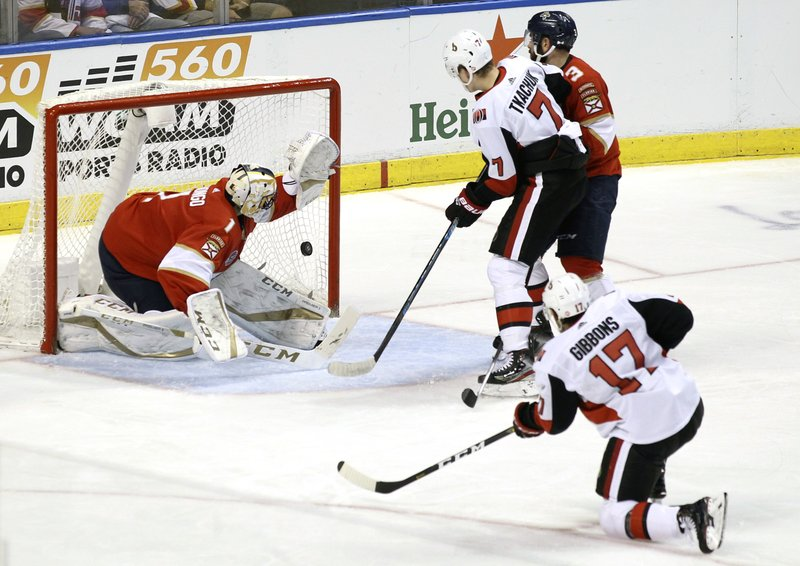 Ottawa Senators' Brian Gibbons (17) scores a goal against Florida Panthers goalkeeper Roberto Luongo (1) during the second period of an NHL hockey game, Sunday, March 3, 2019, in Sunrise, Fla. (AP Photo/Luis M. Alvarez)