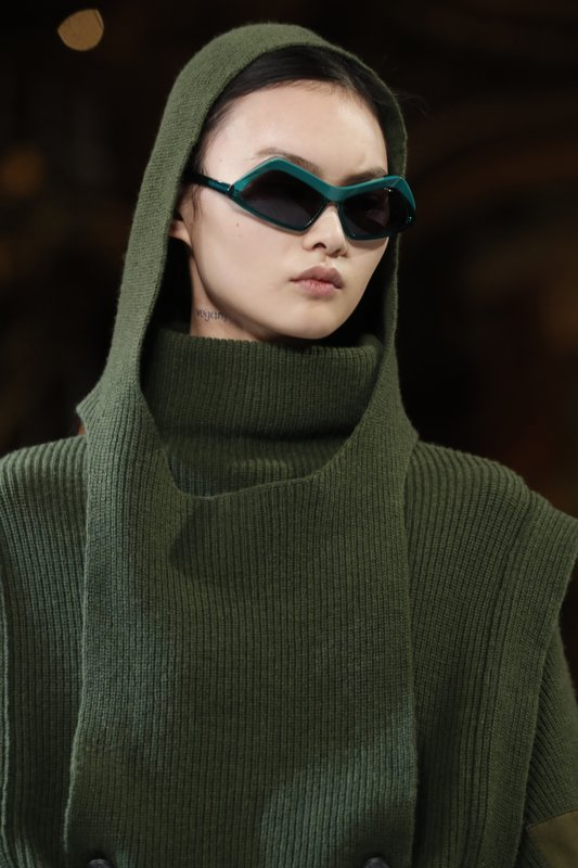A model wears a creation as part of the Stella McCartney ready to wear Fall-Winter 2019-2020 collection, that was presented in Paris, Monday, March 4, 2019. (AP Photo/Thibault Camus)