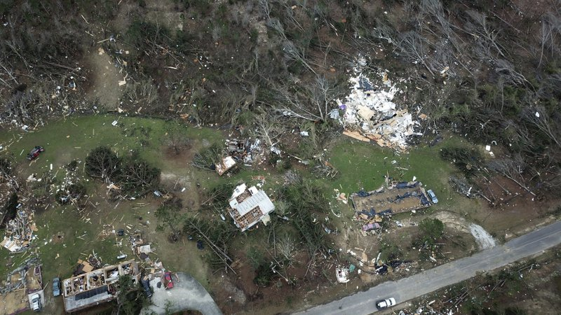 This aerial photo shows damage caused by Sunday's powerful tornado in Beauregard, Ala., Monday, March 4, 2019. (DroneBase via AP)