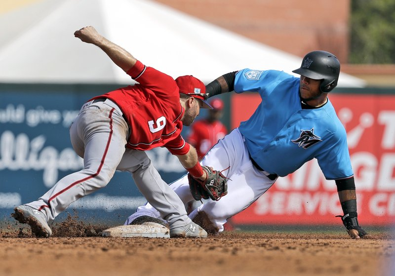 Miami Marlins' Harold Ramirez, right, is safe at second for a stolen base ahead of the tag from Washington Nationals second baseman Brian Dozier during the fifth inning of an exhibition spring training baseball game Friday, March 1, 2019, in Jupiter, Fla. (AP Photo/Jeff Roberson)