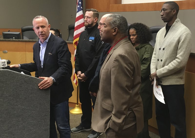 In this March 2, 2019 photo Sacramento Mayor Darrell Steinberg apologizes at City Hall, for Sacramento police officers' fatal shooting of 22-year-old Stephon Clark nearly a year ago after they erroneously thought the black vandalism suspect was pointing a gun. (AP Photo/Don Thompson)