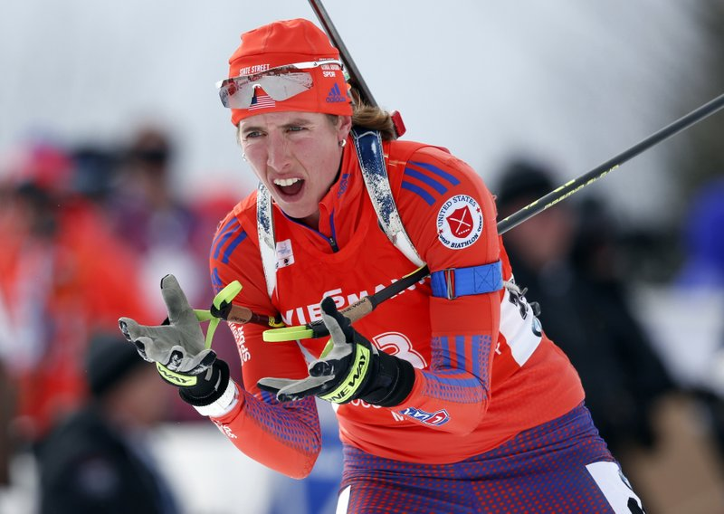 FILE - In this Feb. 11, 2016, file photo, Susan Dunklee, of Barton, Vt., skis to a second-place finish in the sprint competition during the World Cup Biathlon, in Presque Isle, Maine. (AP Photo/Robert F. Bukaty, File)