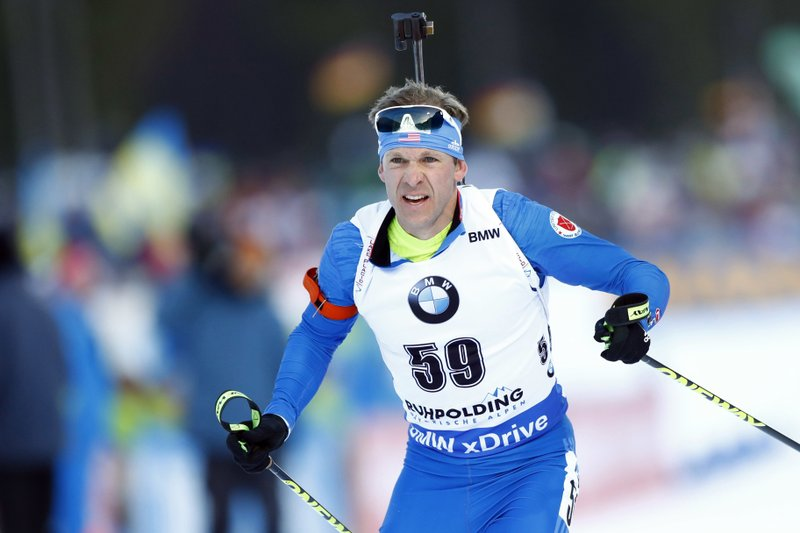 FILE - In this Jan. 10, 2018, file photo, Lowell Bailey, of the United States, competes during the men's 20k individual competition at the biathlon World Cup in Ruhpolding, Germany. (AP Photo/Matthias Schrader, File)