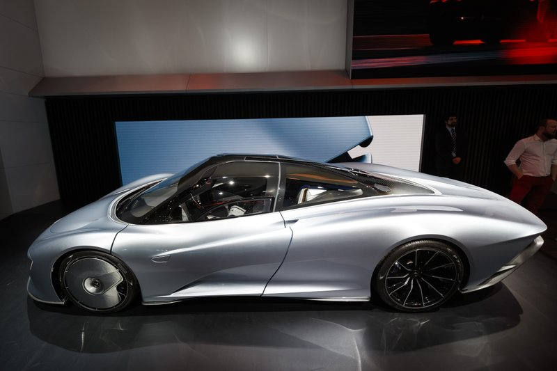 The McLaren Speedtail Concept is displayed during the press day at the '89th Geneva International Motor Show' in Geneva, Switzerland, Tuesday, March 5, 2019.(Cyril Zingaro/Keystone via AP)