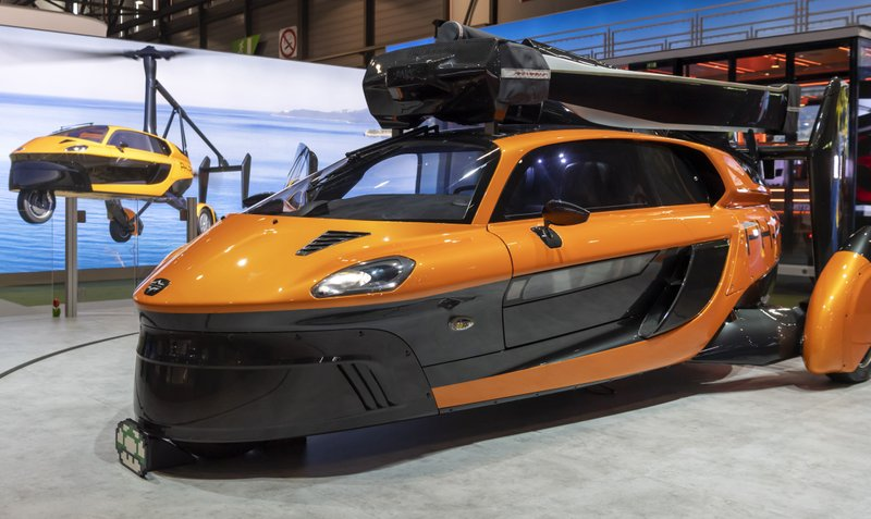 The flying car PAL-V Liberty Pioneer Edition is displayed during the press day at the '89th Geneva International Motor Show' in Geneva, Switzerland, Tuesday, March 5, 2019. (Martial Trezzini/Keystone via AP)