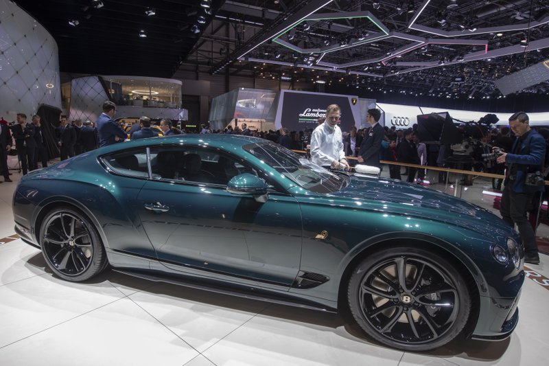 The new Bentley Motors Continental GT Number 9 Edition by Mulliner car is presented during the press day at the '89th Geneva International Motor Show' in Geneva, Switzerland, Tuesday, March 5, 2019. (Martial Trezzini/Keystone via AP)