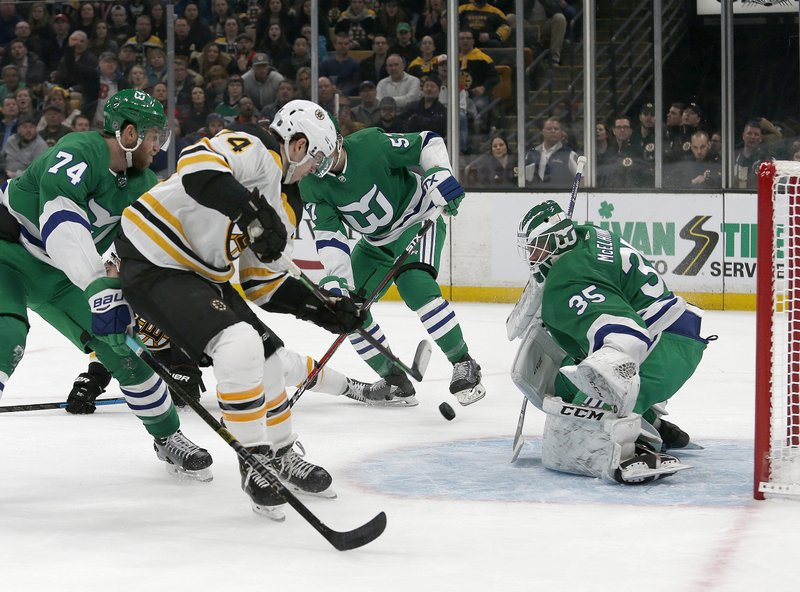 Boston Bruins left wing Jake DeBrusk (74) scores a goal ahead of Carolina Hurricanes defenseman Jaccob Slavin (74) and past Hurricanes goaltender Curtis McElhinney (35 )during the second period of an NHL hockey game, Tuesday, March 5, 2019, in Boston. (AP Photo/Mary Schwalm)