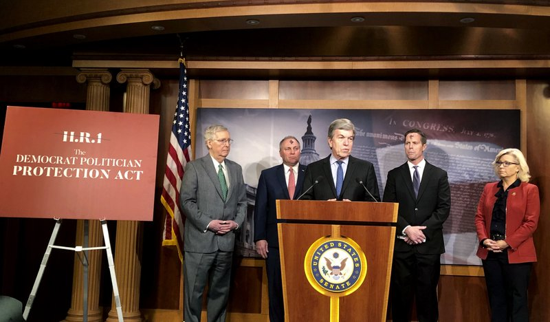 Sen. Roy Blunt, R-Mo., speaks against HR 1, a Democratic bill to impose changes to election and campaign finance systems, Wednesday, March 6, 2019, on Capitol Hill in Washington. (AP Photo/Matthew Daly)
