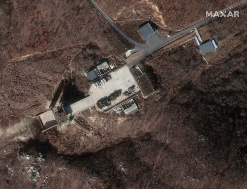 CORRECTS DATE OF IMAGE TO DEC. 5, 2018 - This Dec. 5, 2018 image provided by DigitalGlobe on Tuesday, March 5, 2019 shows a satellite image of North Korea's Sohae facility. (DigitalGlobe via AP)