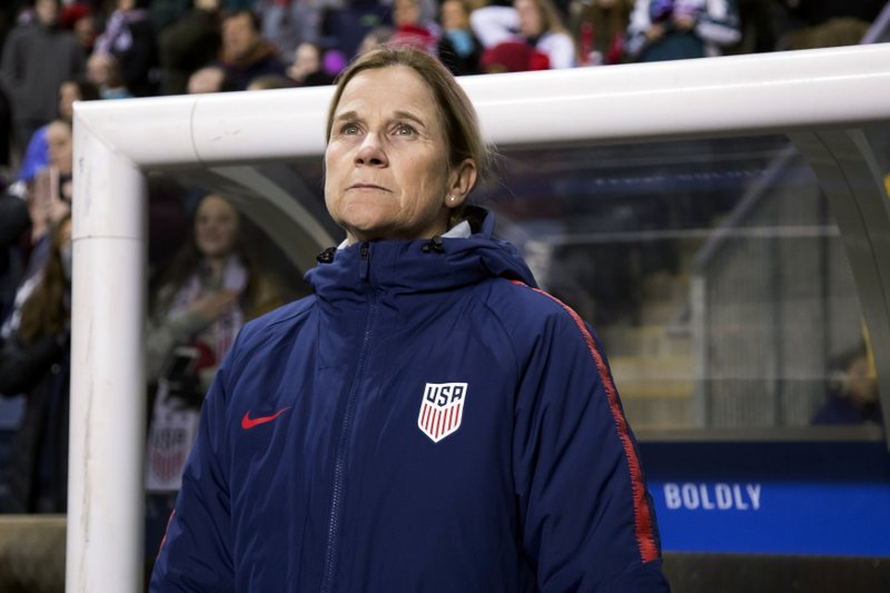 FILE - In this Feb. 27, 2019, file photo, USA head coach Jill Ellis looks on before the first half of SheBelieves Cup soccer match against Japan in Chester, Pa. (AP Photo/Chris Szagola, File)