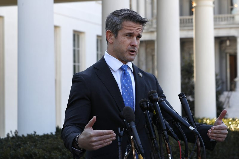 Rep. Adam Kinzinger, R-Ill., speaks to the media, Wednesday, March 6, 2019, at the White House in Washington. (AP Photo/Jacquelyn Martin)