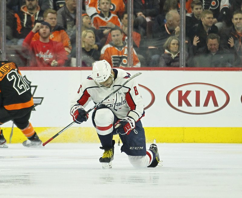 Washington Capitals' Alex Ovechkin celebrates his power play goal during the second period of an NHL hockey game against the Philadelphia Flyers, Wednesday, March 6, 2019, in Philadelphia. (AP Photo/Tom Mihalek)