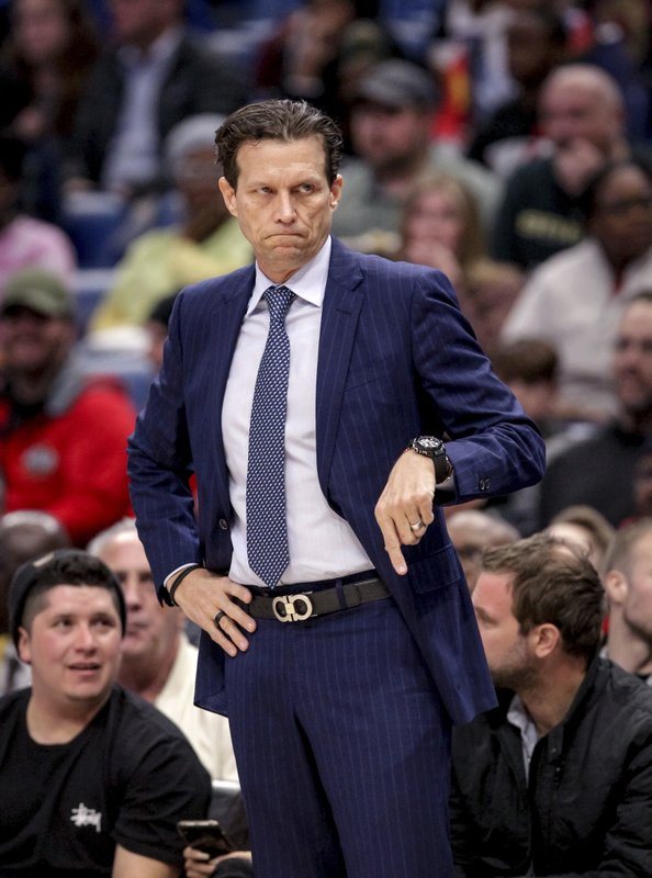 Utah Jazz head coach Quin Snyder communicates with his players in the first half of an NBA basketball game against the New Orleans Pelicans in New Orleans, Wednesday, March 6, 2019. (AP Photo/Scott Threlkeld)