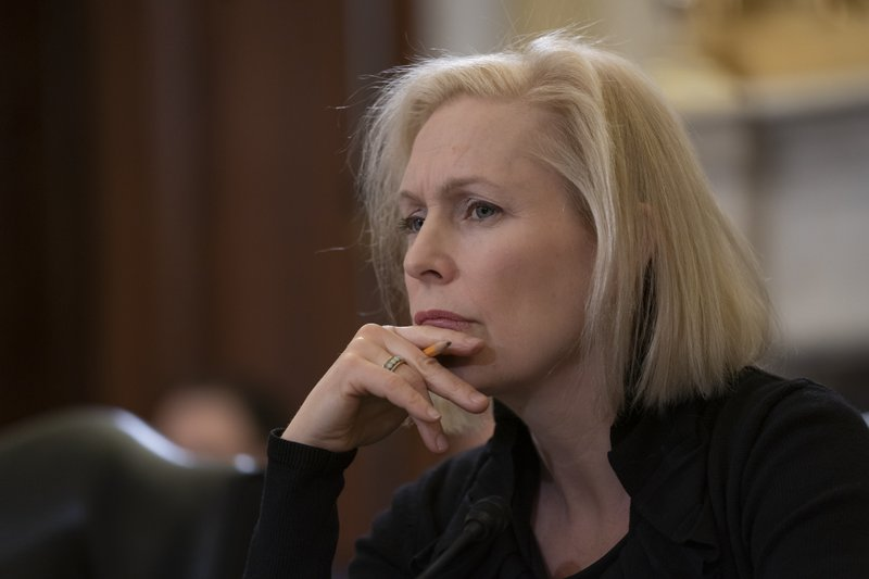 Sen. Kirsten Gillibrand, D-N.Y., the ranking member of the Senate Armed Services Subcommittee on Personnel, listens as the panel holds a hearing about prevention and response to sexual assault in the military, on Capitol Hill in Washington, Wednesday, March 6, 2019. (AP Photo/J. Scott Applewhite)