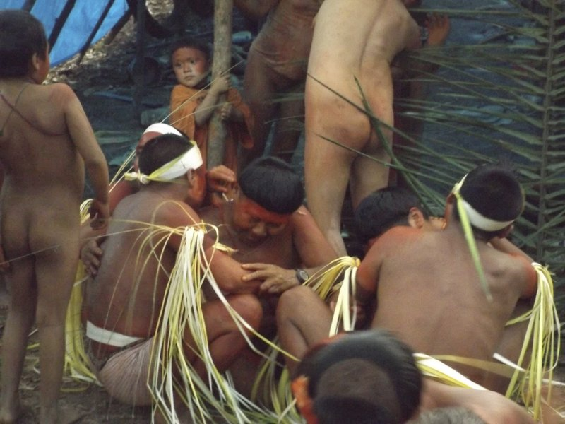 EDS NOTE: NUDITY - This undated 2014 handout photo released by Brazil's National Indian Foundation, FUNAI, shows members of the Korubo tribe in the Javari Valley, in the northern state of Amazonas, Brazil. (Brazil's National Indian Foundation Photo via AP)
