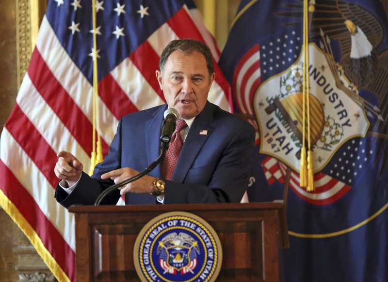 FILE - In this Sept. 12, 2018, file photo, Utah Gov. Gary Herbert speaks during a news conference at the Utah State Capitol, in Salt Lake City. (AP Photo/Rick Bowmer, File)