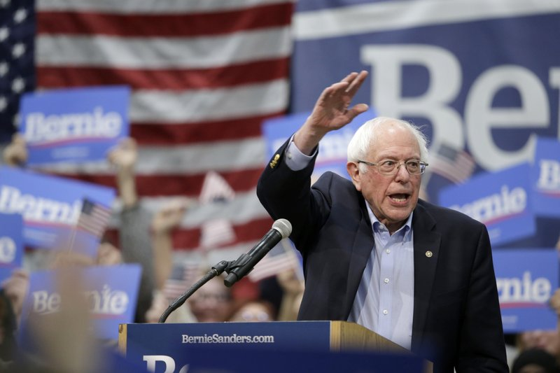 Sen. Bernie Sanders, I-Vt, waves to supporters at the conclusion of a rally in Council Bluffs, Iowa, Thursday, March 7, 2019. (AP Photo/Nati Harnik)