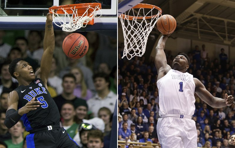 FILE - At left, in a Jan. 28, 2019, file photo, Duke's RJ Barrett (5) dunks against Notre Dame during the second half of an NCAA college basketball game, in South Bend, Ind. (1) drives to the basket against Virginia during the second half of an NCAA college basketball game, in Durham, N.C. Duke freshmen RJ Barrett and Zion Williamson are 1-2 in the league in scoring. They could end up that way for top ACC player, too. (AP Photo/File)