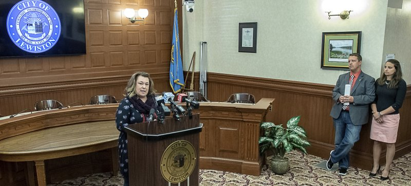 Lewiston City Council President Kristen Cloutier addresses the media in the Lewiston City Council Chambers Friday, March 8, 2019, in Lewiston, Maine, after assuming the role of mayor. (Russ Dillingham/Sun Journal via AP)