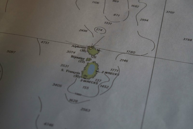 A map showing the area near the location of the Ocean Zephyr vessel after bad weather and high seas brought scientists to change course towards the tiny atoll of Alphonse where they began exploring the depths of the Indian Ocean, Thursday March 7, 2019. (AP Photo/David Keyton)
