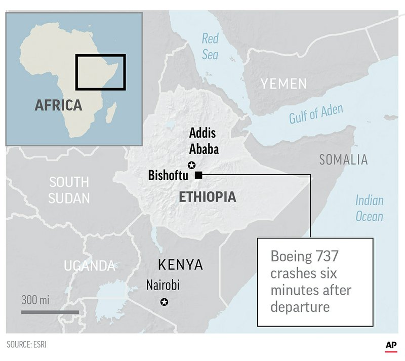 The airplane crash occurred around Bishoftu, or Debre Zeit, some 50 kilometers (31 miles) south of the capital, Addis Ababa, shortly after taking off at 8:38 a.m.;