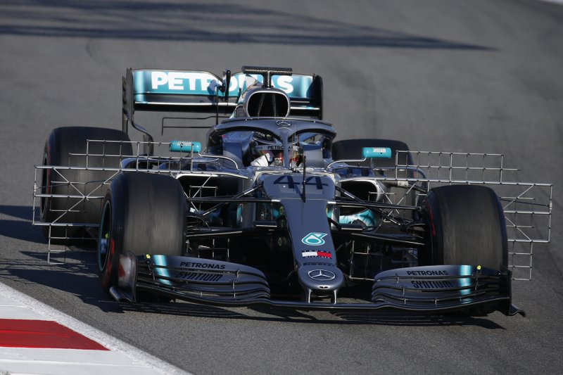 FILE - In this file photo dated Tuesday, Feb. 26, 2019, Mercedes driver Lewis Hamilton of Britain steers his car during a Formula One pre-season testing session at the Catalunya racetrack in Montmelo, outside Barcelona, Spain. (AP Photo/Joan Monfort, FILE)