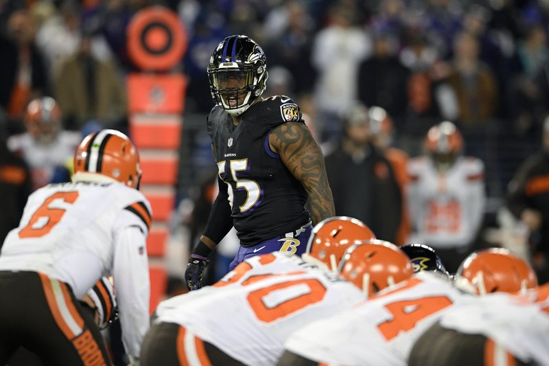 FILE - In this Sunday, Dec. 30, 2018 file photo,Baltimore Ravens outside linebacker Terrell Suggs (55) looks across the line of scrimmage in the second half of an NFL football game against the Cleveland Browns in Baltimore. (AP Photo/Nick Wass, File)