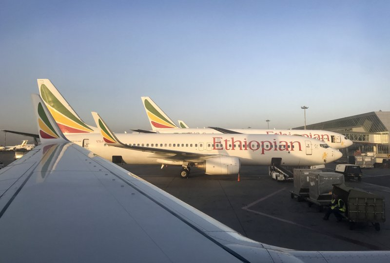 This photo taken Monday, Feb. 11, 2019 shows an Ethiopian Airlines Boeing 737-800 parked at Bole International Airport in Addis Ababa, Ethiopia. (AP Photo/Ben Curtis)