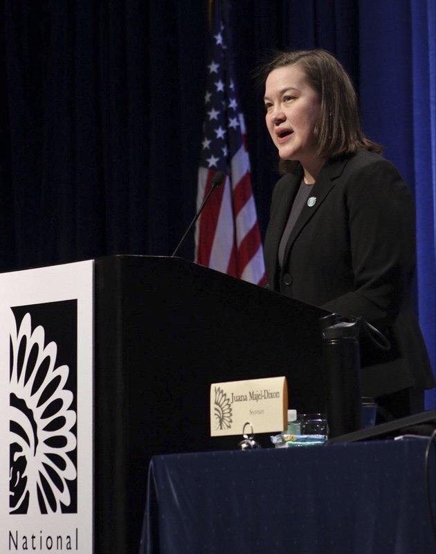 In this Feb. 13, 2019, photo provided by the National Congress of American Indians, Sarah Kastelic, executive director of the National Indian Child Welfare Association, speaks at an annual gathering of the National Congress of American Indians in Washington. (National Congress of American Indians via AP)