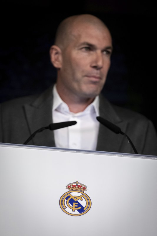 Newly appointed Real Madrid head coach Zinedine Zidane attends a press conference in Madrid, Monday March 11, 2019. (AP Photo/Bernat Armangue)