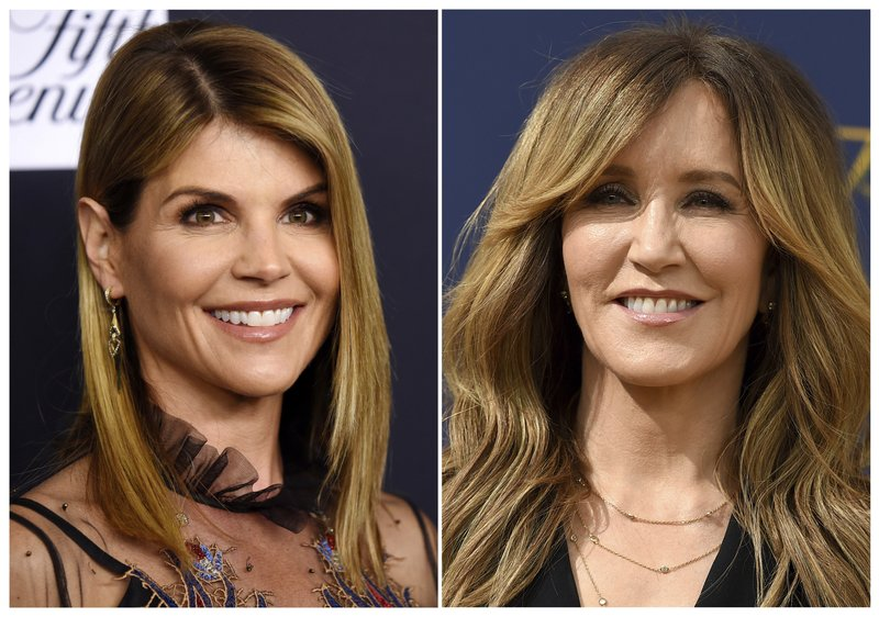 This combination photo shows actress Lori Loughlin at the Women's Cancer Research Fund's An Unforgettable Evening event in Beverly Hills, Calif. (AP Photo)