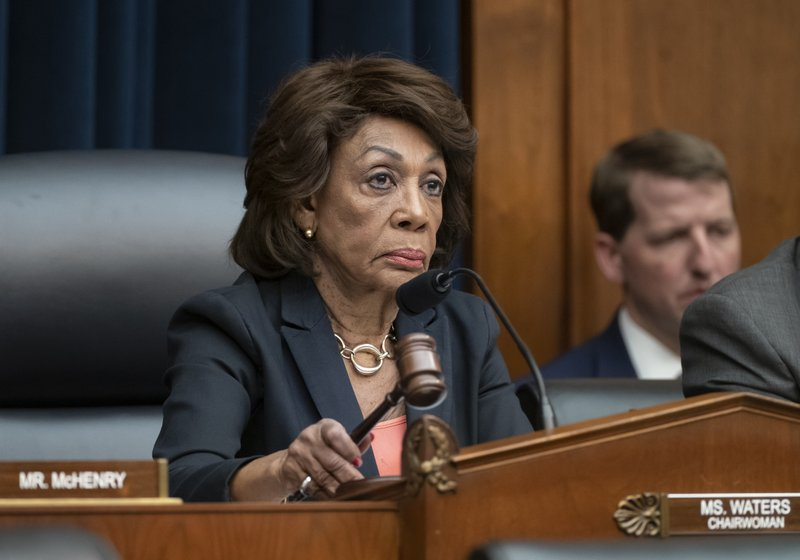 House Financial Services Committee Chair Rep. Maxine Waters, D-Calif., leads a hearing with Wells Fargo CEO Timothy Sloan who was questioned about revelations the bank had created millions of fake bank accounts to reach their financial goals, on Capitol Hill in Washington, Tuesday, March 12, 2019. (AP Photo/J. Scott Applewhite)