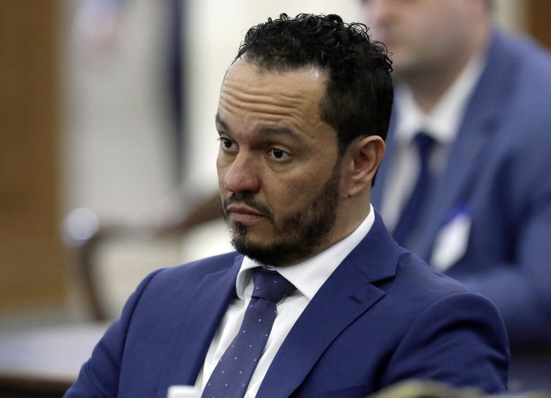 Albert Alvarez listens to a question as he testifies before the joint legislative oversight committee, Tuesday March 12, 2019 in Trenton, NJ. (AP Photo/Jacqueline Larma)