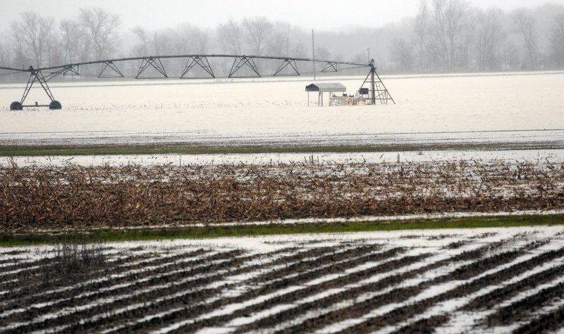 Backflow waters flood farmlands near Rolling Fork, Miss., Monday, March 11, 2019. This week the Federal Emergency Management Agency (FEMA), the Mississippi Emergency Management Agency (MEMA), along with select local emergency management offices will be conducting joint damage assessments in response to the severe storms and flooding are impacting the state. (AP Photo/Rogelio V. Solis)