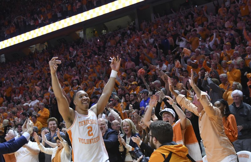 Tennessee forward Grant Williams (2) celebrates after defeating Kentucky 71-52 in an NCAA college basketball game in Knoxville, Tenn. (Joy Kimbrough/The Daily Times via AP)
