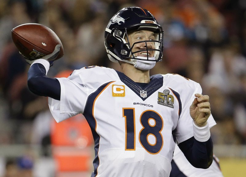 FILE - In this Feb. 7, 2016 file photo, Denver Broncos' Peyton Manning (18) passes against the Carolina Panthers during the second half of the NFL Super Bowl 50 football game in Santa Clara, Calif. (AP Photo/Julio Cortez, File)