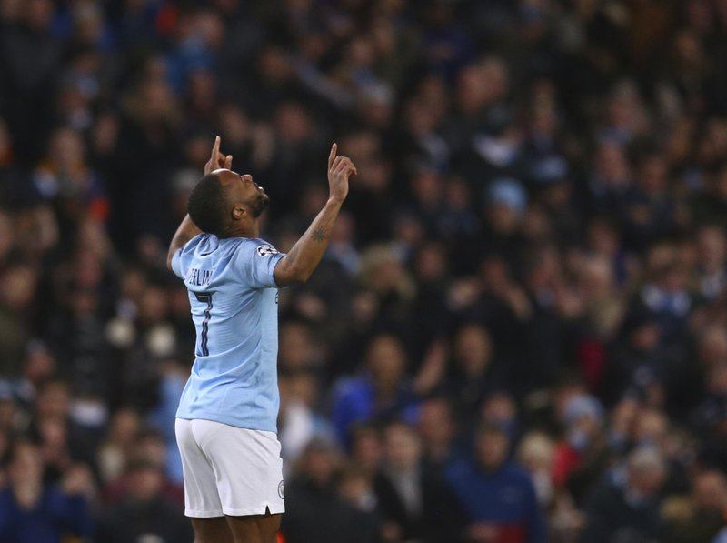 Manchester City's Raheem Sterling celebrates after scoring his side's fourth goal during the Champions League round of 16 second leg, soccer match between Manchester City and Schalke 04 at Etihad stadium in Manchester, England, Tuesday, March 12, 2019. (AP Photo/Dave Thompson)