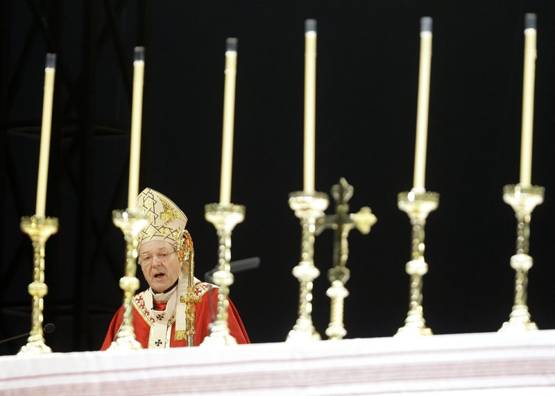 FILE - In this July 15, 2008, file photo, Cardinal George Pell speaks during the opening mass for World Youth Day in Sydney. (AP Photo/Rick Rycroft, File)