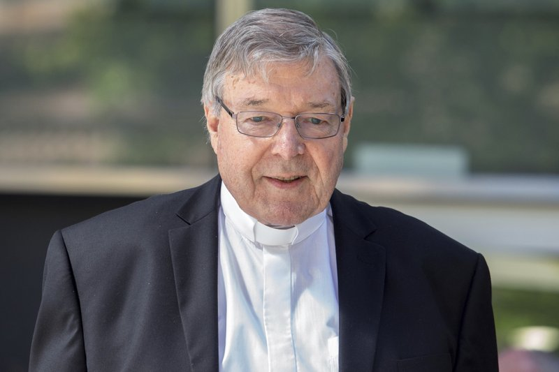In this Dec 10, 2018, photo, Cardinal George Pell, the most senior Catholic cleric to face sex charges, departs an Australian court. (AP Photo/Asanka Brendon Ratnayake)