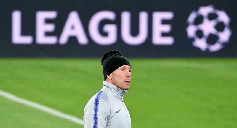 Atletico Madrid coach Diego Simeone attends a training session on the eve of the Uefa Champions League round of 16 second leg soccer match between Juventus and Atletico Madrid, in Turin, Italy, March 11, 2019. (Alessandro Di Marco/ANSA via AP)