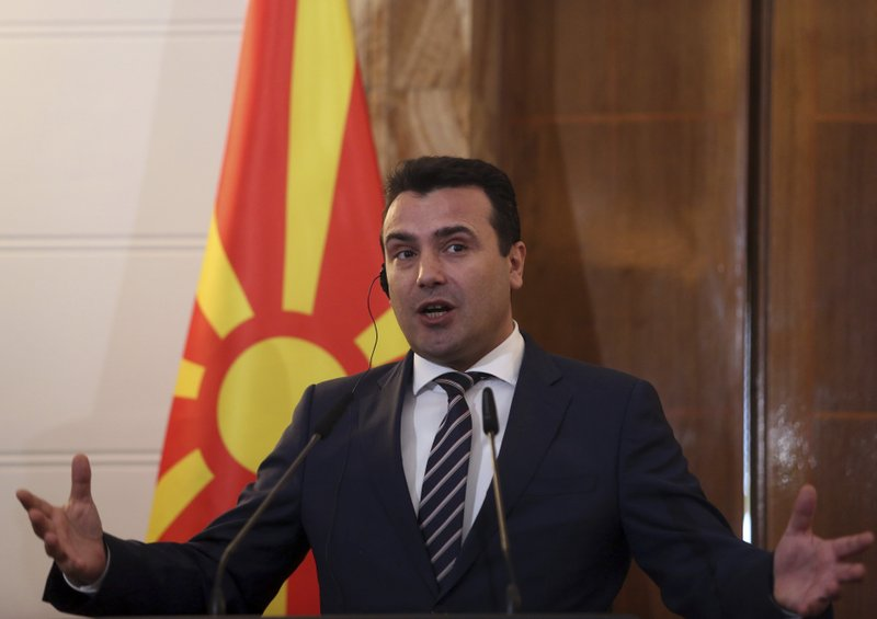 North Macedonia's Prime Minister Zoran Zaev makes statements with his Albanian counterpart Edi Rama during a press conference in Tirana, Wednesday, March 13, 2019. (AP Photo)