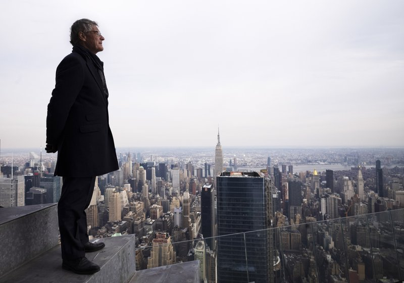 In this March 8, 2019 photo, Jay Cross, president of Related Hudson Yards, stands on an outdoor observation deck named